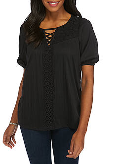 New Directions® Crochet Lace-Up Yoke Top
