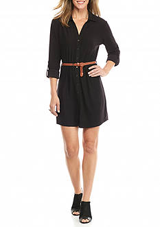 New Directions Belted Button Down Dress