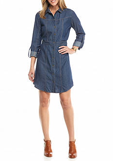 New Directions Jean Shirt Dress with Tab