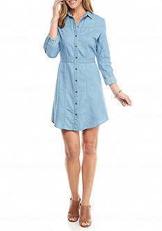 New Directions Denim Shirt Dress with Tab