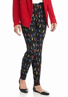 New Directions Holiday Lights Pull-On Leggings