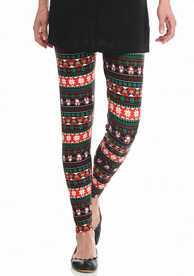 New Directions® Holiday Reindeer & Penguins Pull-On Leggings