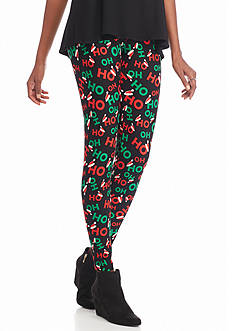 New Directions Ho Ho Ho Holiday Print Pull-On Legging