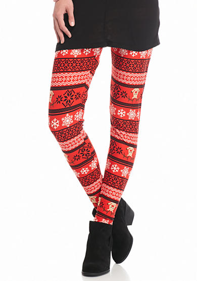 New Directions® Holiday Snowflakes & Reindeer Print Pull-On Legging