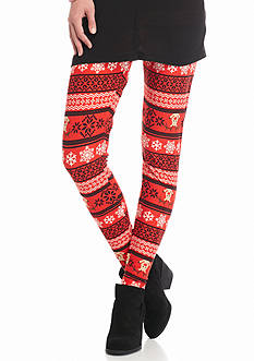 New Directions Holiday Snowflakes & Reindeer Print Pull-On Legging