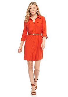 New Directions® Petite Belted Knit Shirtdress