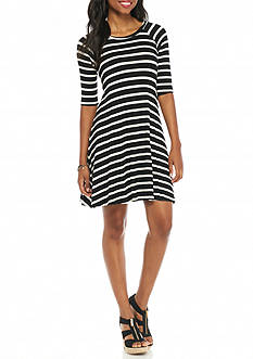 New Directions Petite Striped Swing Dress