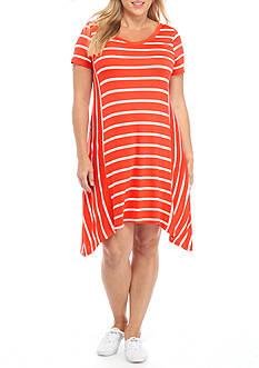 New Directions Plus Size Sharkbite Hem Dress