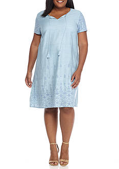 New Directions Plus Size Embroidered Tassel Tie Dress