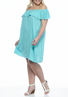 New Directions Plus Size Ruffle Neck Peasant Dress