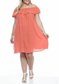 New Directions® Plus Size Ruffle Neck Peasant Dress