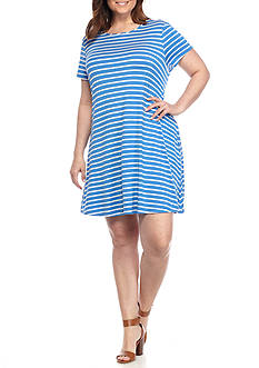 New Directions Plus Size Short Sleeve Striped Swing Dress