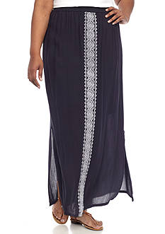 New Directions Plus Size Embroidered Skirt