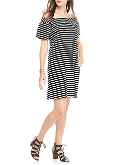 New Directions Stripe Smocked Off Shoulder Dress