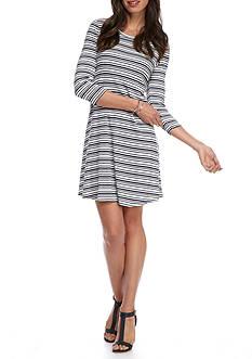 New Directions Rib Stripe Swing Dress