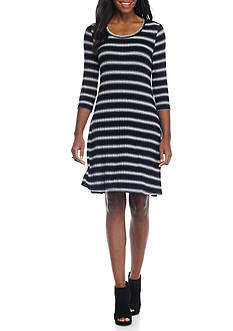 New Directions Ombre Stripe Swing Dress