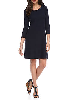 New Directions Solid Rib Swing Dress
