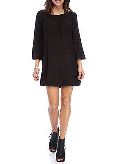 New Directions Solid Smock Neck Bell Sleeve Dress