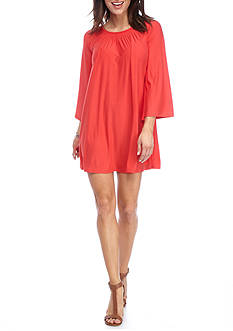 New Directions Smock Neck Bell Sleeve Dress