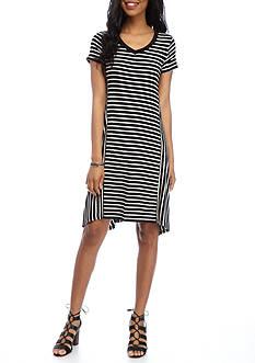 New Directions Striped Sharkbite Dress