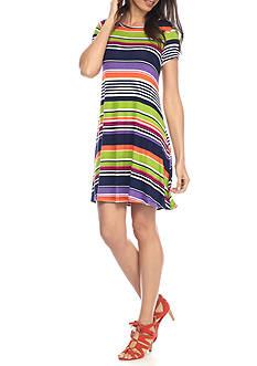 New Directions Multi Stripe Swing Dress