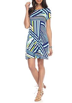 New Directions Broken Stripe Swing Dress