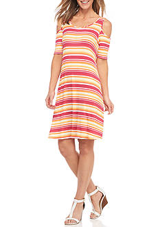 New Directions Striped Cold Shoulder Dress