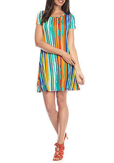 New Directions Painted Stripe Swing Dress