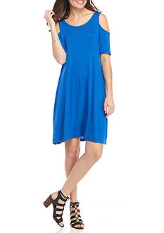 New Directions Solid Cold Shoulder Dress