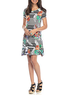 New Directions Floral Multi Stripe Swing Dress