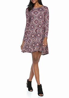 New Directions Aztec Diamond Print Dress