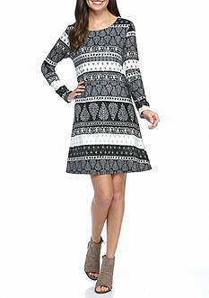 New Directions Multi Print Stripe Dress