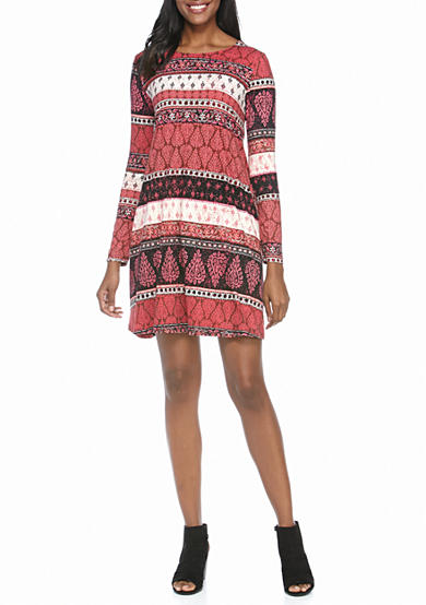 New Directions® Multi Print Stripe Dress