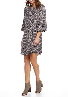 New Directions Lace Medallion Bell Sleeve Dress