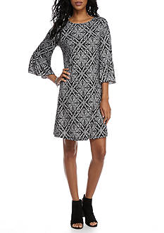 New Directions Tile Print Bell Sleeve Dress