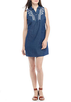 New Directions® Embroidered Chambray Shirt Dress