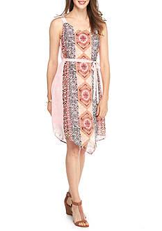 New Directions Geo Print Hanky Hem Chiffon Dress