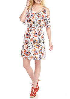 New Directions Printed Crepon Cold Shoulder Dress