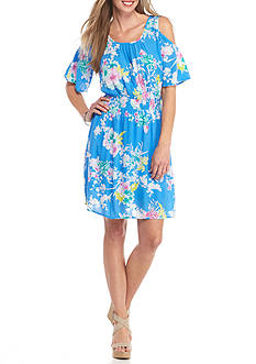 New Directions Printed Cold Shoulder Crepon Dress