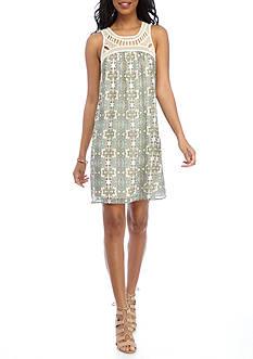 New Directions Printed Crochet Yoke Dress