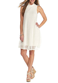 New Directions Allover Lace Mock Neck Swing Dress