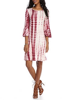 New Directions Tie-Dye Bell Sleeve Dress
