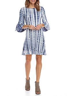 New Directions Tie-Dye Bell Sleeve Dress