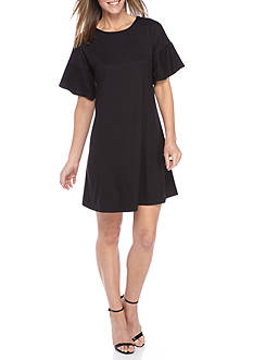 New Directions Solid Flutter Sleeve Dress