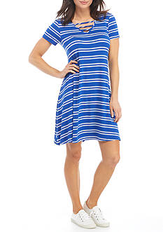 New Directions® Short Sleeve Bar Neck Striped Swing Dress