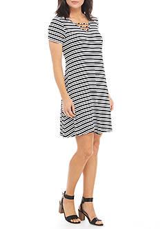 New Directions Short Sleeve Bar Neck Striped Swing Dress