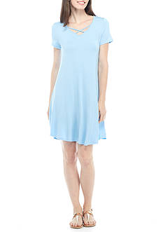 New Directions® Short Sleeve Crossover Neck Swing Dress