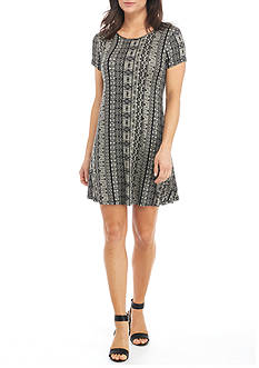 New Directions Short Sleeve Printed Swing Dress