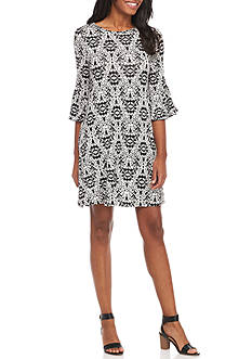 New Directions Printed Bell Sleeve Dress