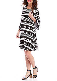 New Directions Striped Bell Sleeve Dress